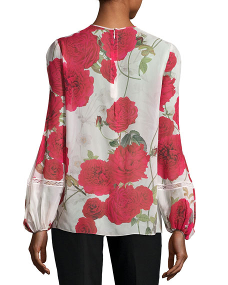 Rose-Print Chiffon Blouse, White/Red