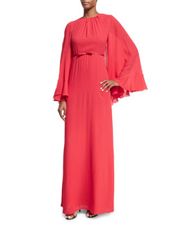 Pleated Silk Cape-Back Gown, Red