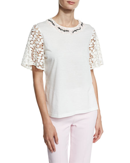Embroidered Lace-Sleeve Top, White