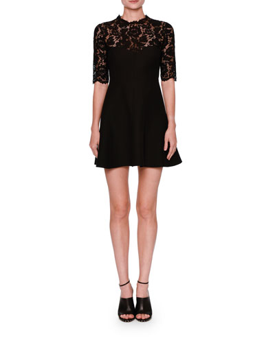 Half-Sleeve Lace Fit & Flare Dress, Black