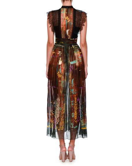Mock-Neck Lace-Trim Forest-Print Midi Dress, Rust