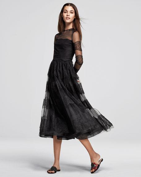 Long-Sleeve Chantilly Lace Dress, Black