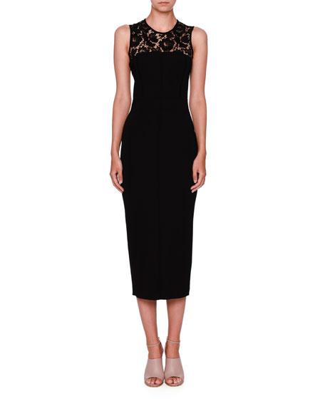 Sleeveless Lace-Yoke Pencil Dress, Black