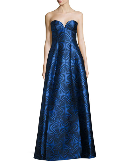 Strapless Sweetheart Jacquard Gown, Blue
