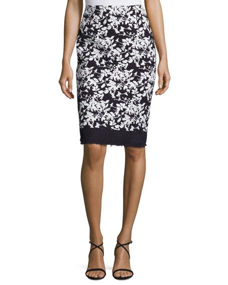 Floral-Print Pencil Skirt, Navy/White