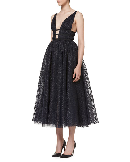 Sleeveless Dotted Tulle A-Line Dress, Navy