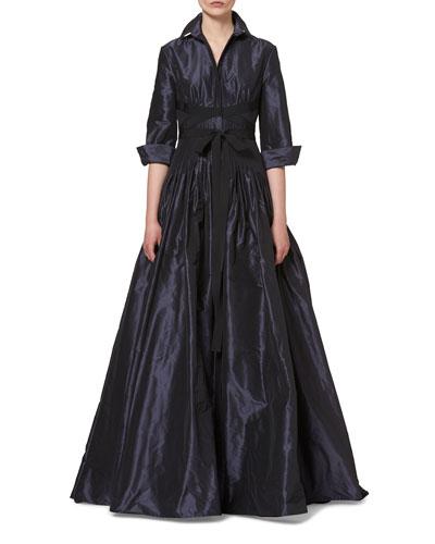 3/4-Sleeve Crisscross-Waist Trench Gown, Navy