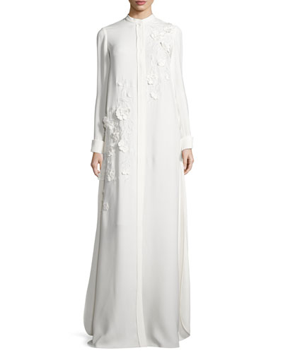 Long-Sleeve Embroidered Caftan Gown, White