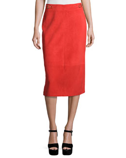 Suede Pencil Skirt, Red