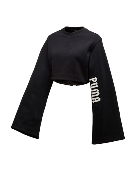 Cropped Kimono Sweatshirt, Black