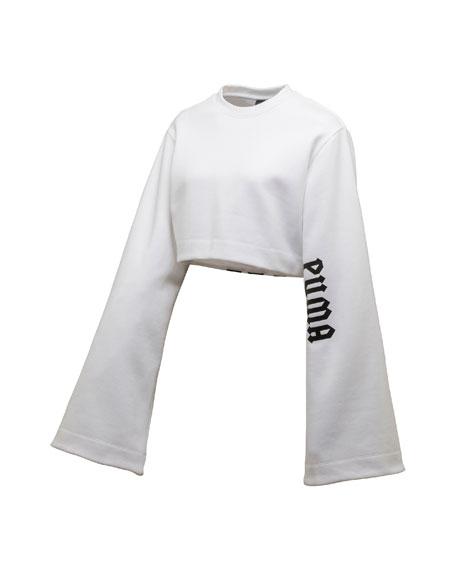 Cropped Kimono Sweatshirt, Puma White