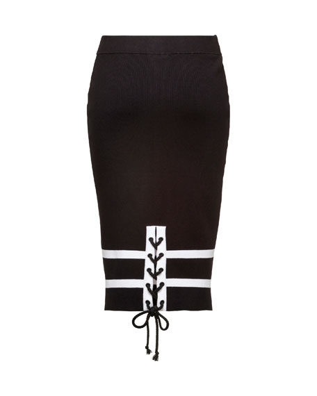 Striped Knit Pencil Skirt, Black