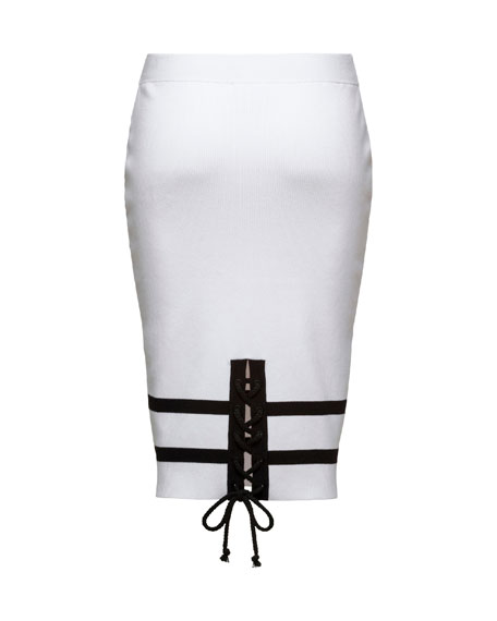 Striped Knit Pencil Skirt, Puma White