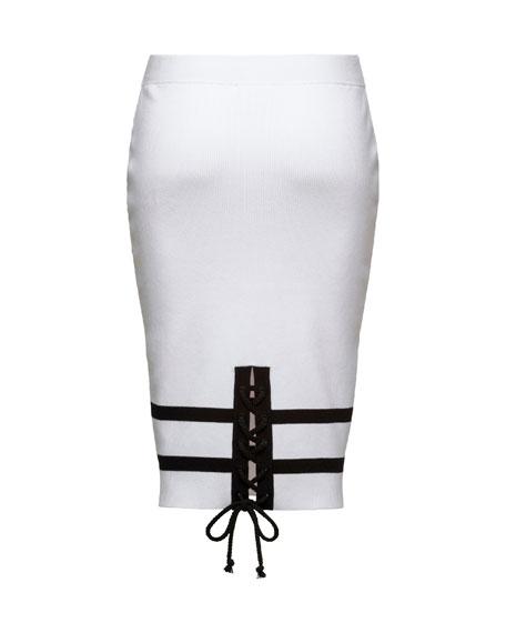 Striped Knit Pencil Skirt, Puma White