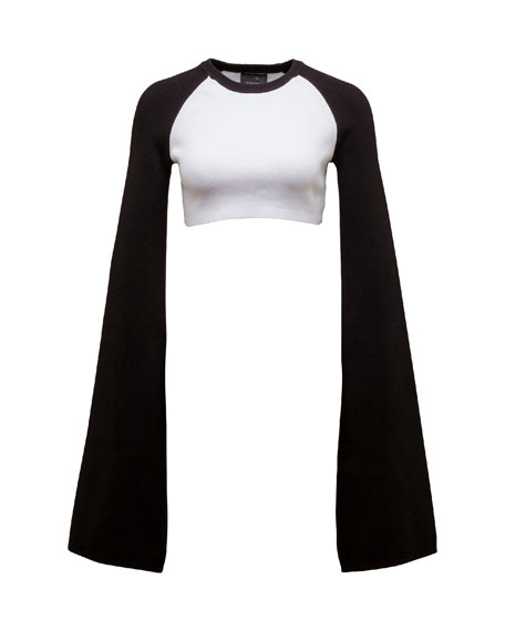 Cropped Rib-Knit Kimono Top, Puma White/Black