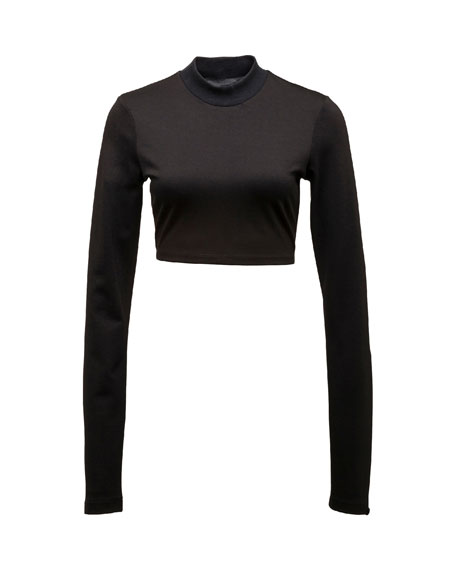Cropped Mock-Neck Long-Sleeve Top, Puma Black