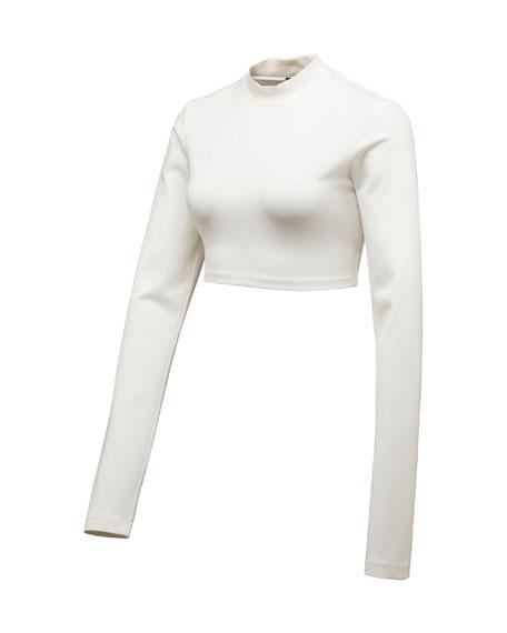 Cropped Mock-Neck Long-Sleeve Top, Puma White