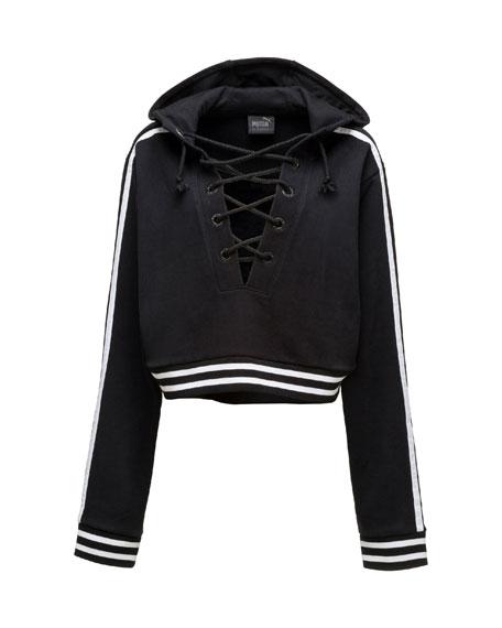 Lace-Up Hoodie Sweatshirt, Puma Black