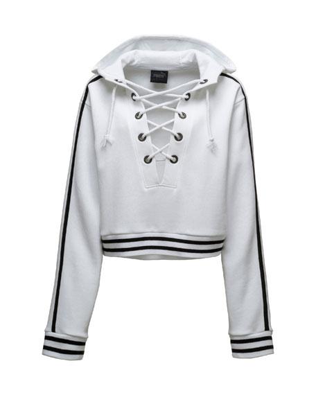 Lace-Up Hoodie Sweatshirt, Puma White
