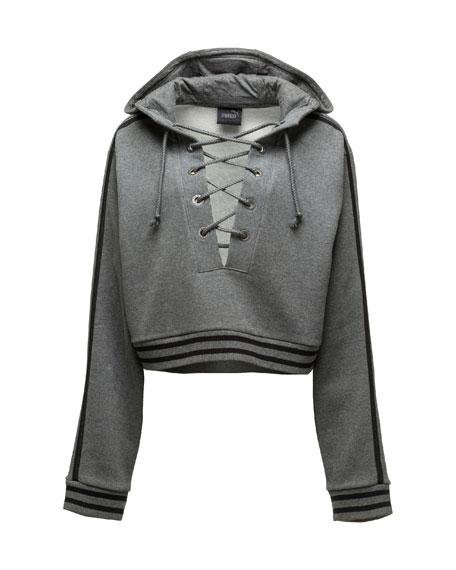 Lace-Up Hoodie Sweatshirt, Charcoal Heather