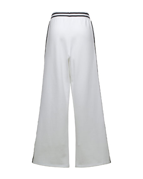 Stripe-Trim Wide-Leg Sweatpants, Puma White