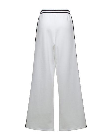 Stripe-Trim Wide-Leg Sweatpants, Puma White