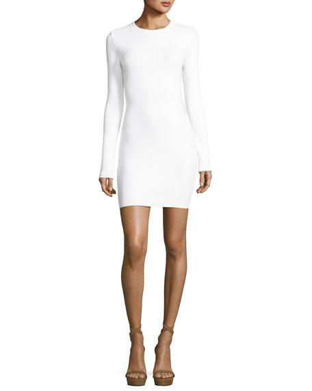 Open-Back Peace Sign Mini Dress, White