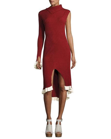 Knit One-Sleeve Asymmetric Dress, Henna