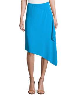 Asymmetric Side-Ruffle Skirt, Turquoise
