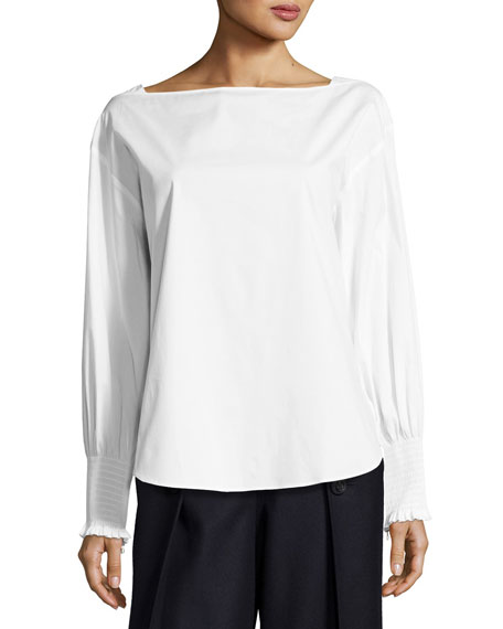 Cedric Charlier Cotton Poplin Smocked-Cuff Blouse, White
