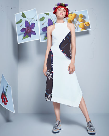 High-Neck Asymmetric Floral-Print Dress, White