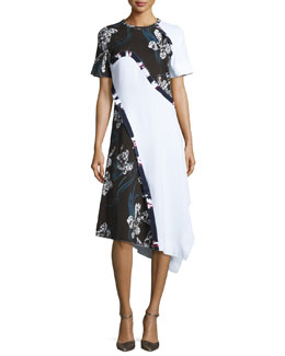 Short-Sleeve Asymmetric Floral-Print Dress, White