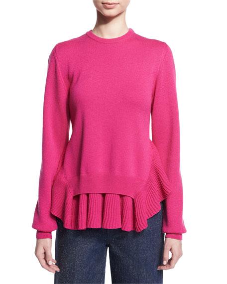 Crewneck Ruffle-Hem Sweater, Pink