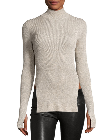 Cedric Charlier Metallic Knit Mock-Neck Sweater, Gold