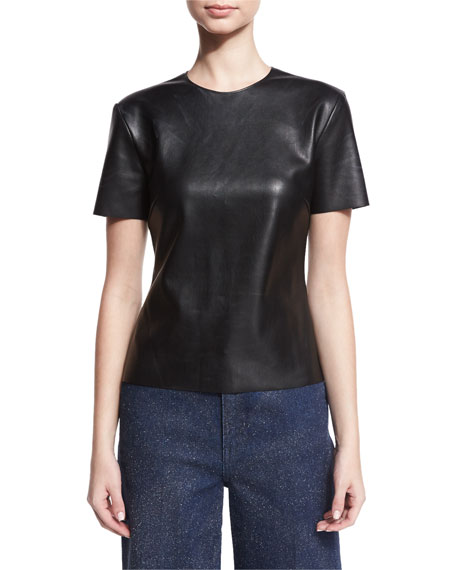 Short-Sleeve Faux-Leather Tee, Black