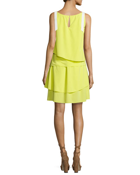 Layered Silk Slip Dress, Lime