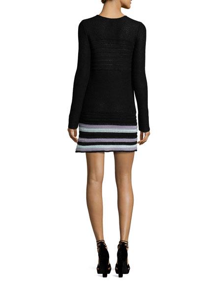 Plunging Crocheted Stripe-Hem Dress, Black