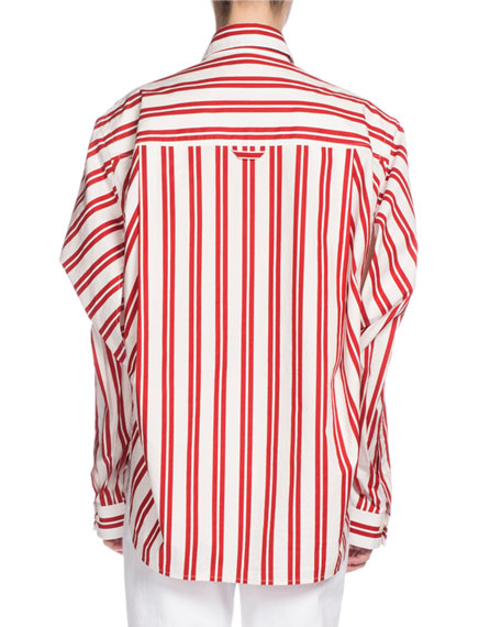 Convertible Striped Cotton Blouse, Red/White