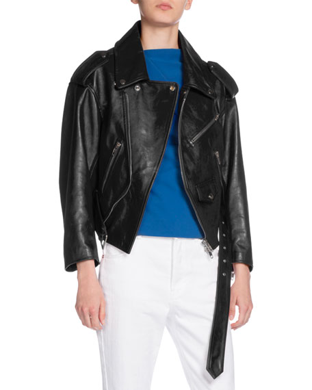 Leather Swing Biker Jacket, Black