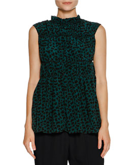 Ruched Sleeveless Geometric-Print Top, Green
