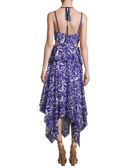 Printed Eyelet Handkerchief Dress, Blue