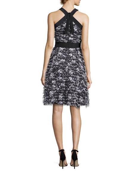 Flower-Fringe Chiffon Halter Dress, Black/White