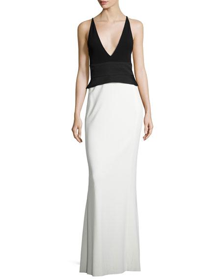 Crepe Jersey Sleeveless Peplum Gown, Black/White