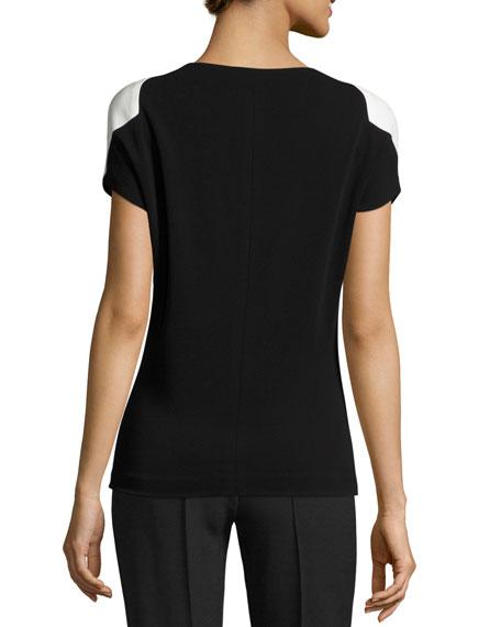 Crepe Jersey Cap-Sleeve Top, Black/White