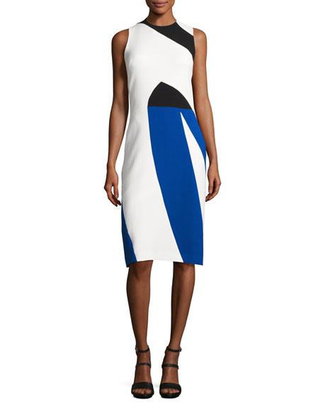 Narciso Rodriguez Colorblock Crepe Sleeveless Sheath Dress,