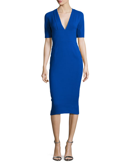 Crepe Short-Sleeve Sheath Dress, Cobalt
