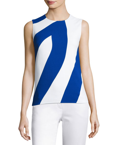 Bicolor Crepe Sleeveless Top, White