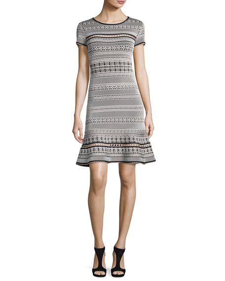 Herve Leger Short-Sleeve Flared Jacquard Dress, Black/White