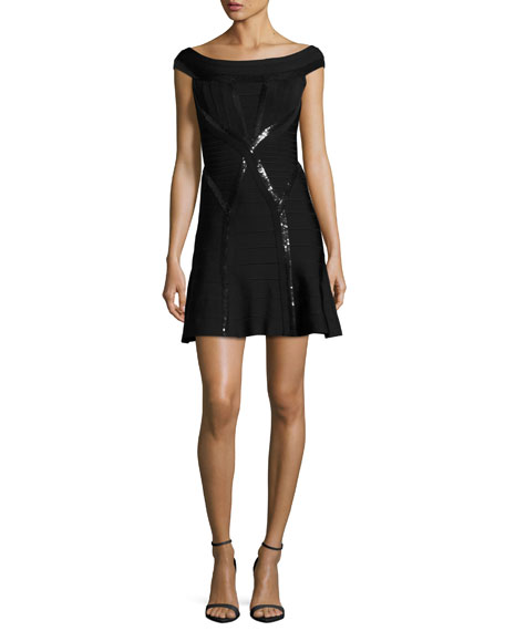 Sequined Cap-Sleeve Cocktail Dress, Black