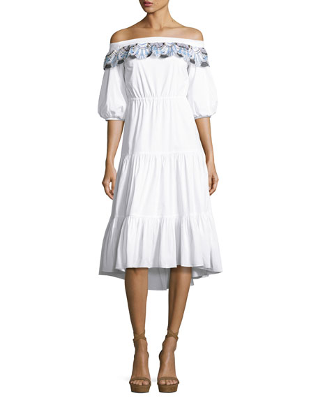 Embroidered Off-the-Shoulder Midi Dress, White